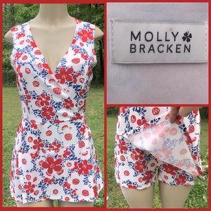 Molly Bracken Floral Print Romper w/Skorts Small